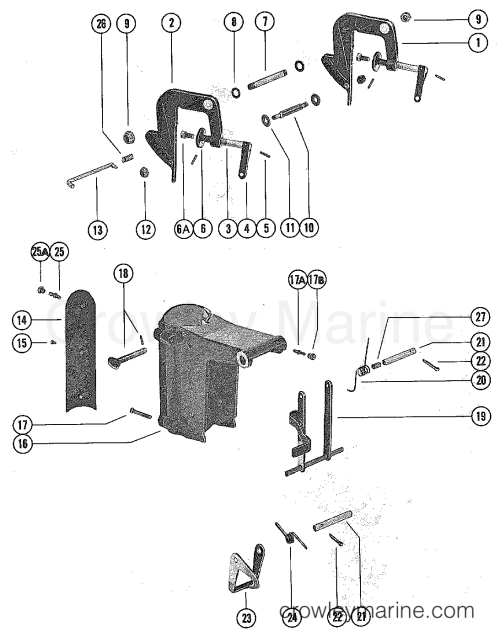 small resolution of 1976 mercury outboard 4 m 1040206 clamp and swivel bracket assembly section