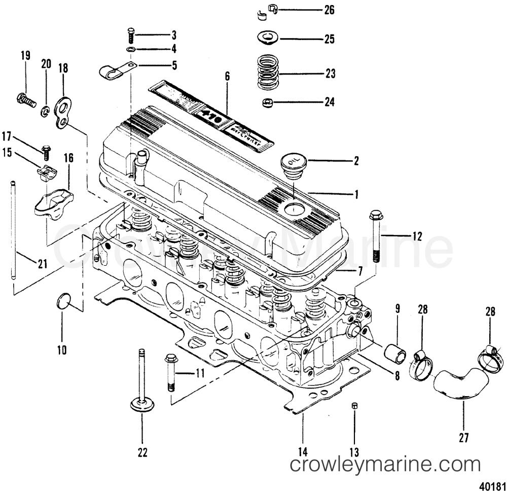 medium resolution of cylinder head and rocker cover 1983 mercruiser 470 04707333 mando marine alternator wiring diagram 1983 mercruiser