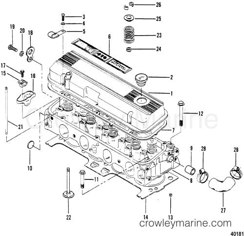 small resolution of cylinder head and rocker cover 1983 mercruiser 470 04707333 mando marine alternator wiring diagram 1983 mercruiser
