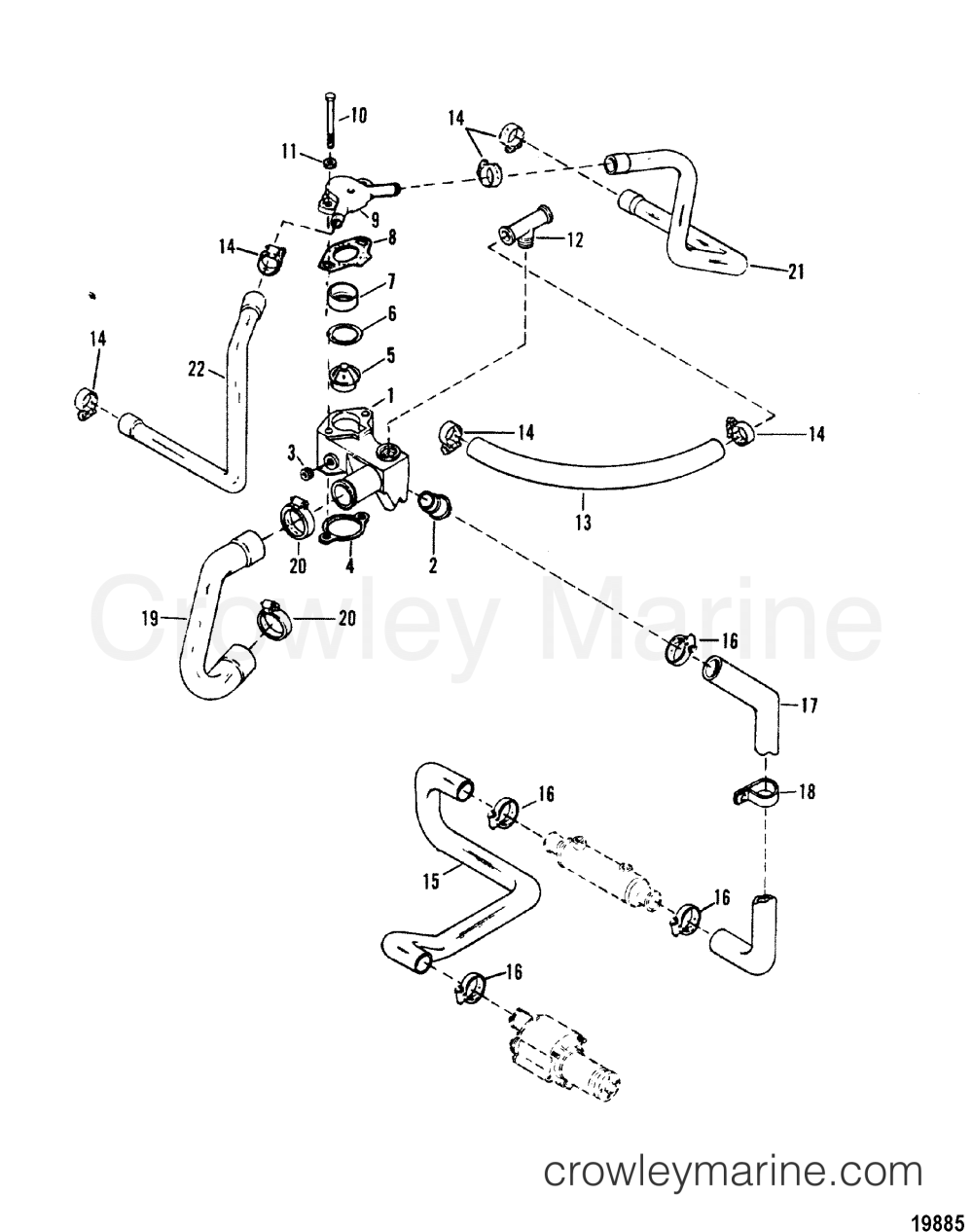 medium resolution of 1988 mercury inboard engine 5 0l carb 3501111as thermostat housing standard