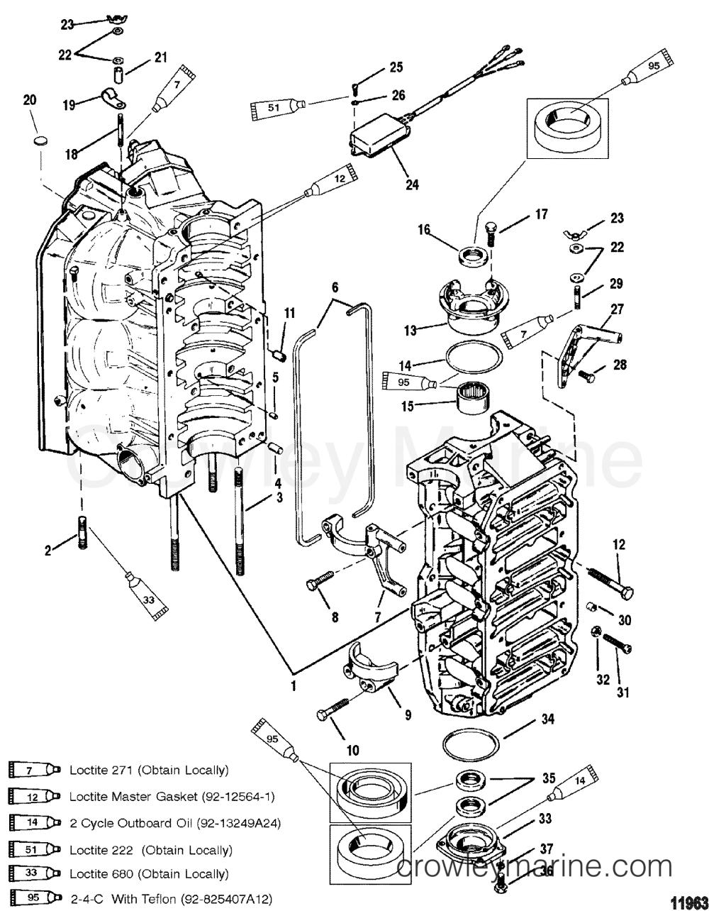 medium resolution of cylinder block and end caps 1996 mercury outboard 150 mercury 115 wiring diagram mercury carburetor diagram
