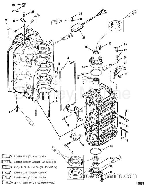 small resolution of cylinder block and end caps 1996 mercury outboard 150 mercury 115 wiring diagram mercury carburetor diagram