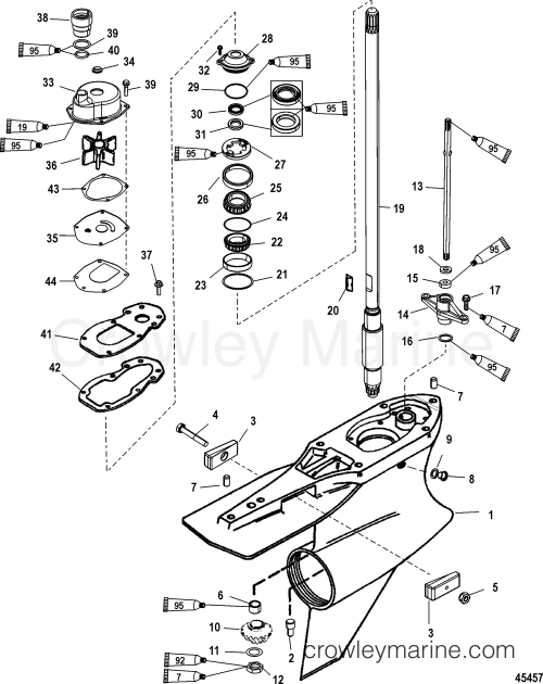 small resolution of gear housing driveshaft standard rotation sportmaster 2005 mercury lower unit diagram mercury lower unit diagram