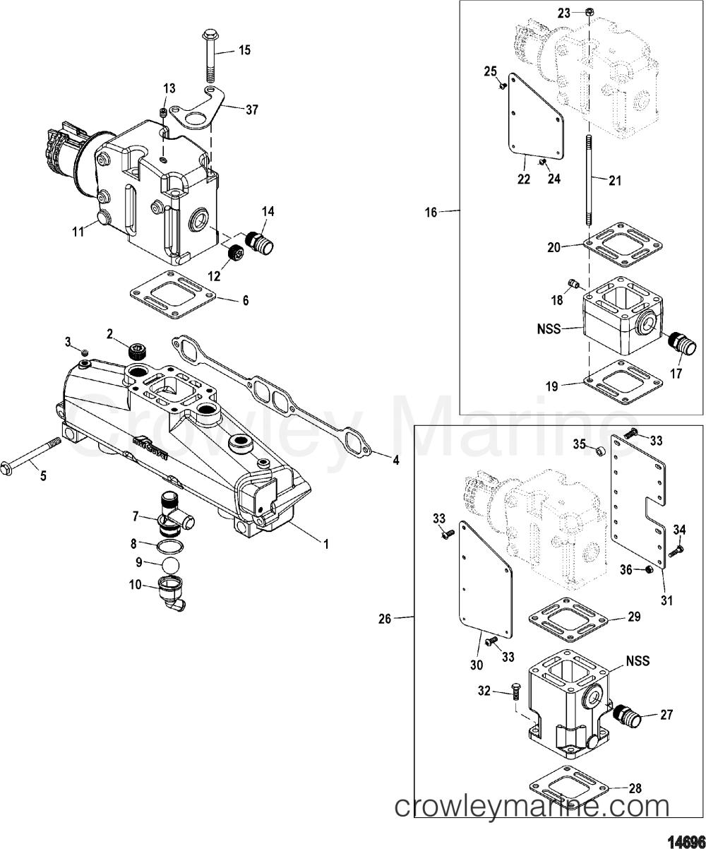 medium resolution of 1998 mercury inboard engine 350 mag mpi horiz 33500028s exhaust manifold and