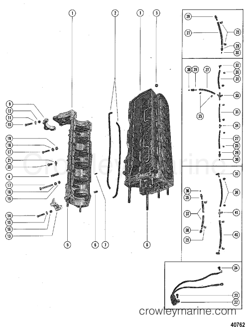 small resolution of 1976 mercury outboard 115 elpt 1115626 cylinder block and crankcase assembly section