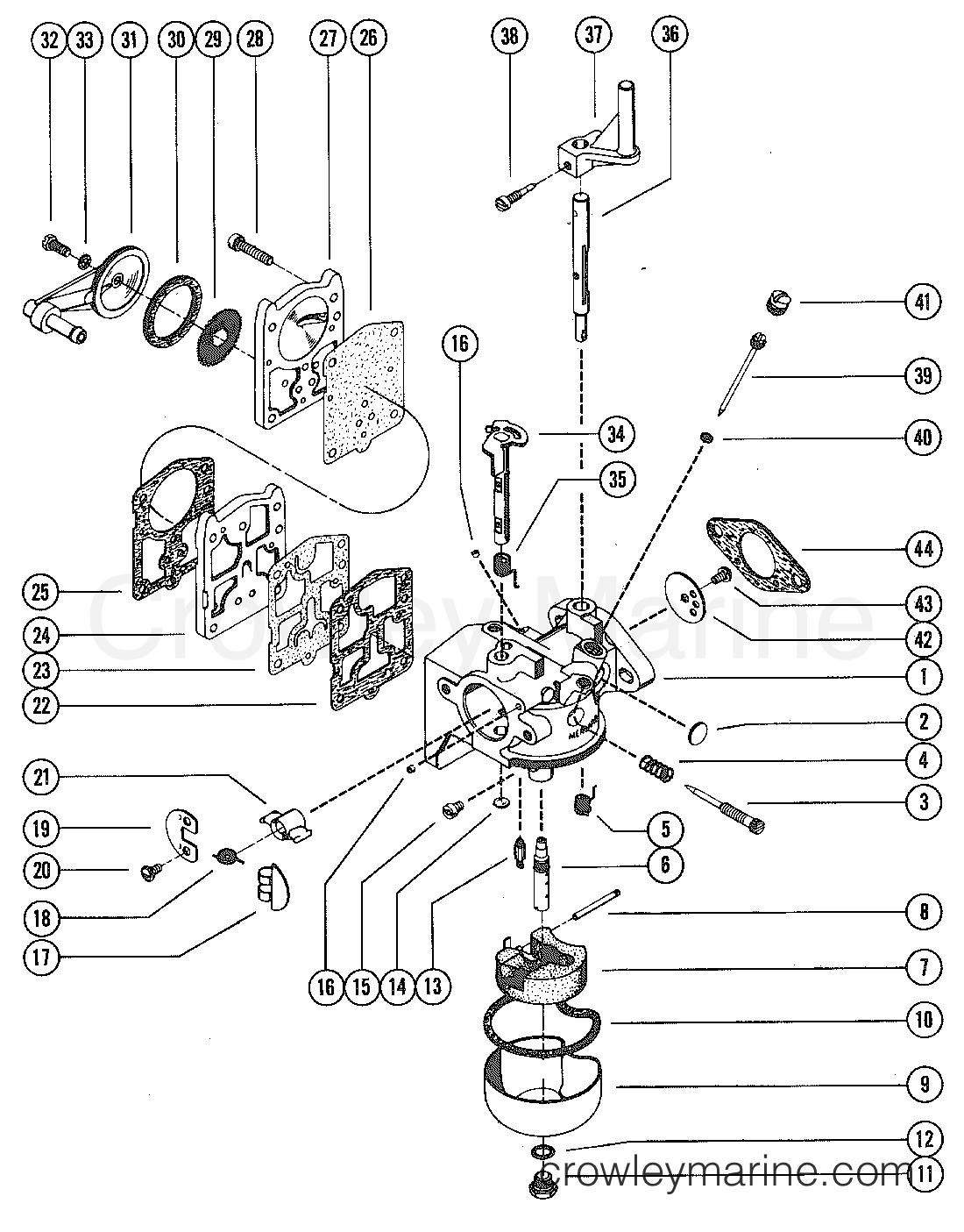 hight resolution of carburetor assembly complete 1975 mercury outboard 9 8 1110205 mercury 25hp 2 stroke carb diagram mercury carb diagram