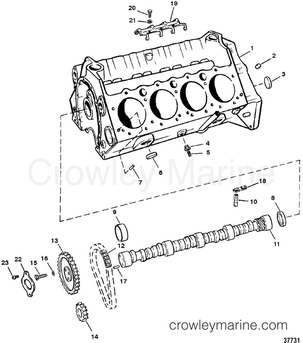 medium resolution of 1987 mercruiser 260 02602347 cylinder block and camshaft roller lifters section