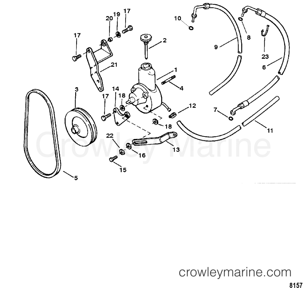 medium resolution of 1998 mercruiser 3 0l alpha 4111021l1 power steering pump assembly section