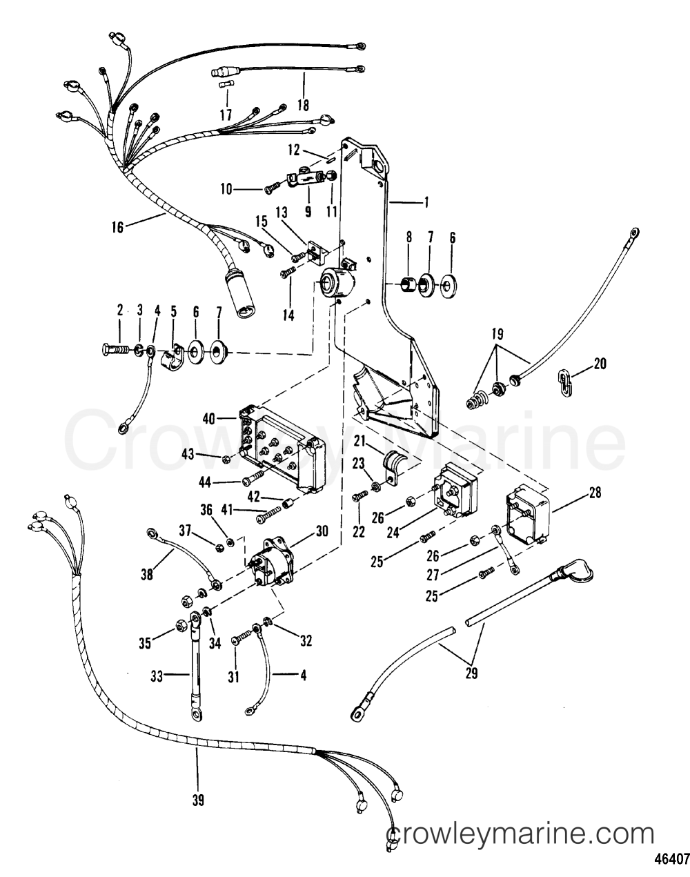 medium resolution of 1983 mercury outboard 300 elpt 1300623 wiring harness starter solenoid and