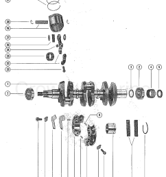1976 mercury outboard 65 1650506 crankshaft pistons and connecting rods section [ 1103 x 1398 Pixel ]
