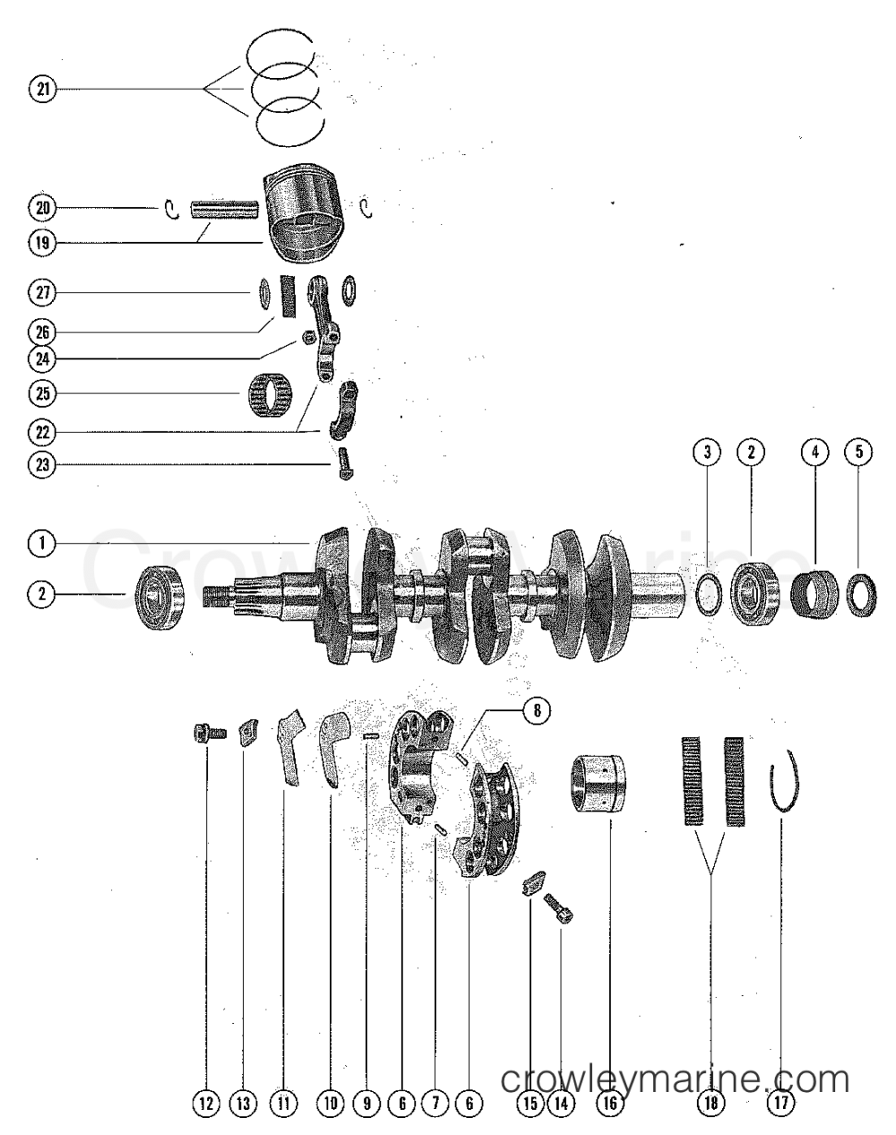 medium resolution of 1976 mercury outboard 65 1650506 crankshaft pistons and connecting rods section