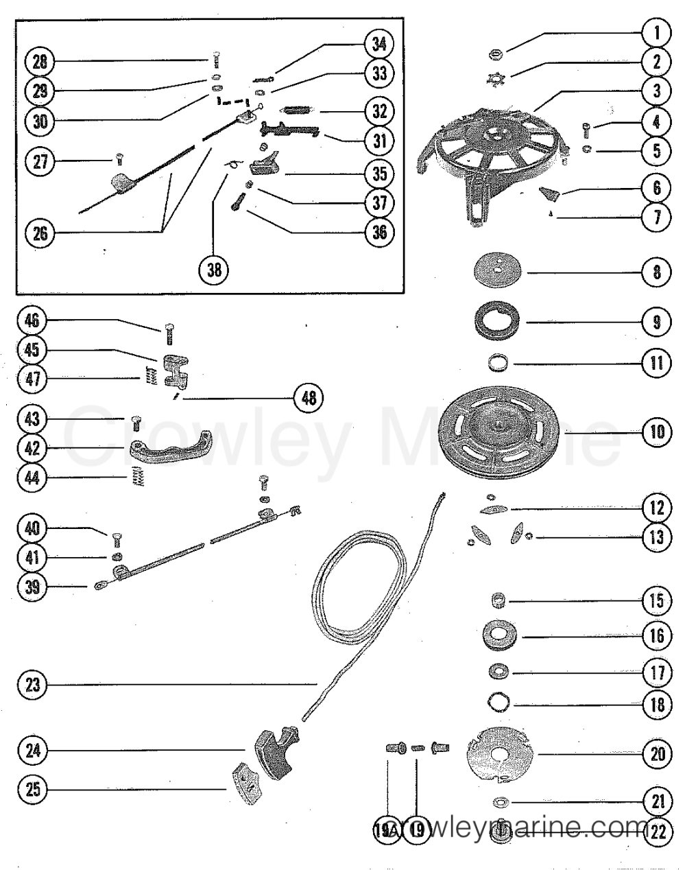 medium resolution of 1976 mercury outboard 50 1500206 starter housing manual section