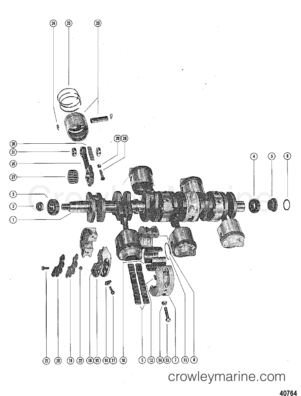 medium resolution of 1976 mercury outboard 115 elpt 1115626 crankshaft pistons and connecting rods
