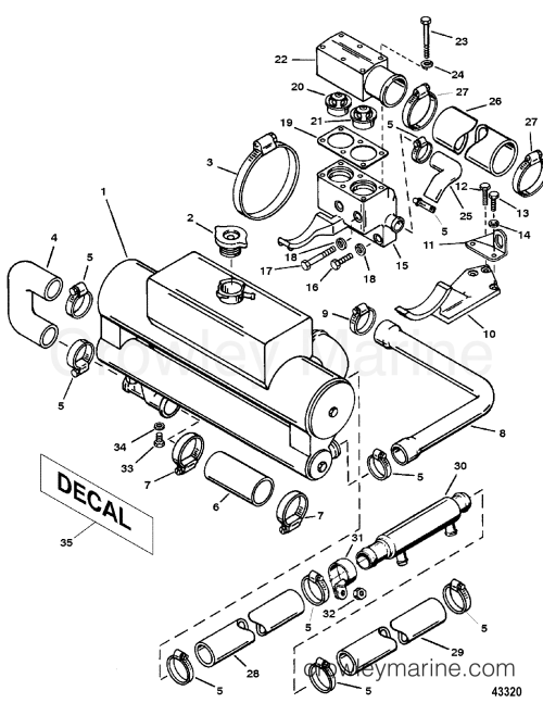 small resolution of 1994 mercruiser 4 2ld bravo 442b110gd heat exchanger and hoses section