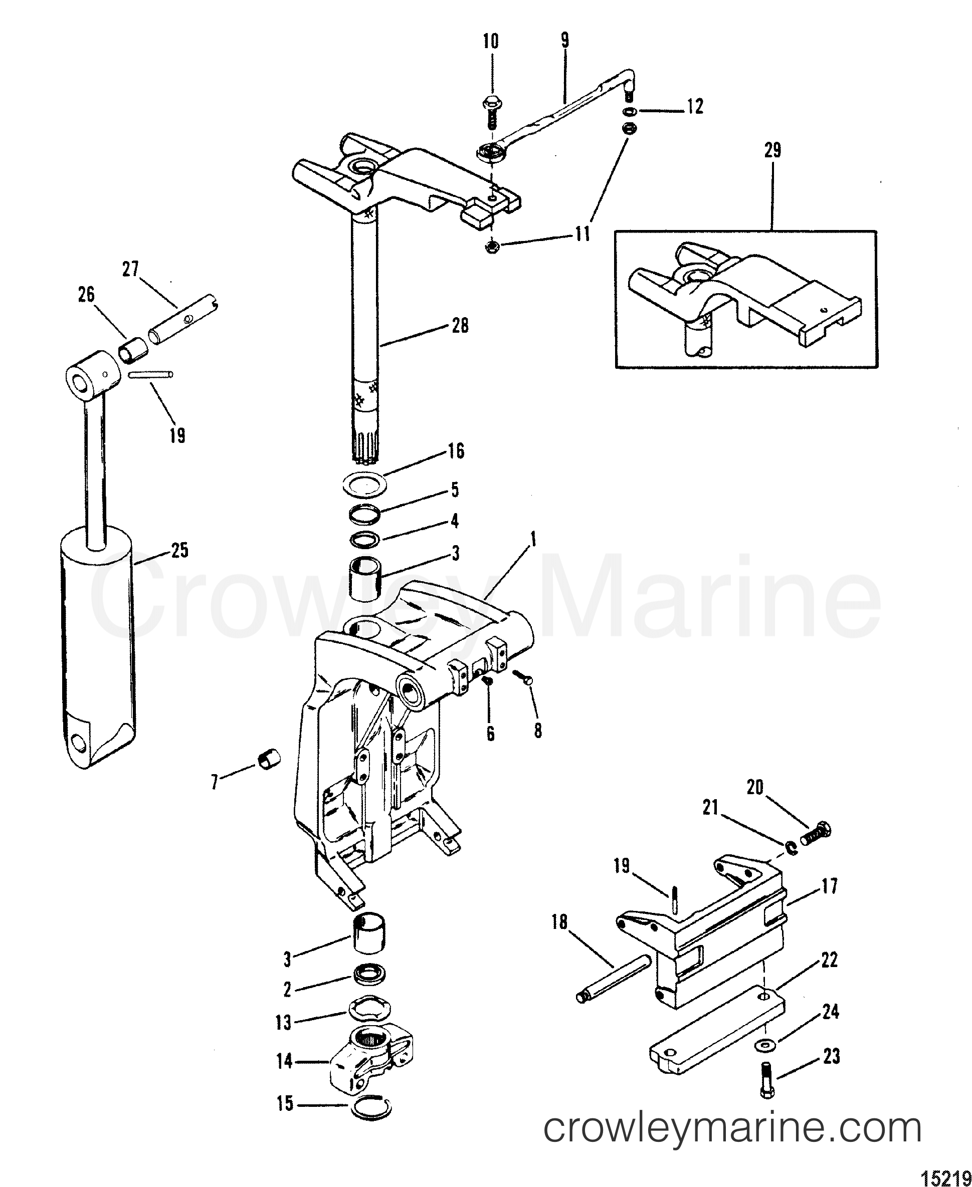 SWIVEL BRACKET AND STEERING ARM(CASTING NUMBER 1499-8709C5
