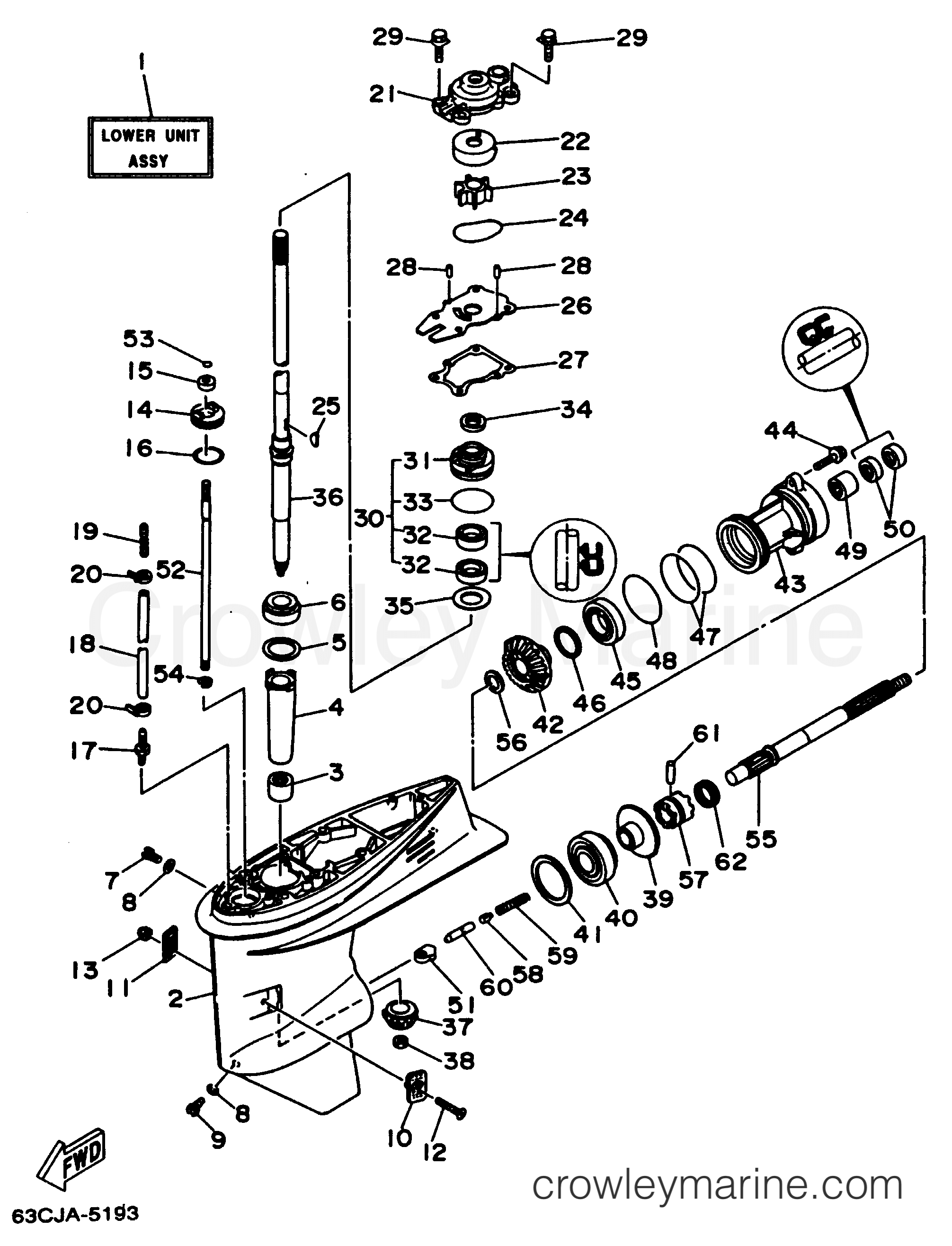 outboard motor lower unit diagram wiring for chinese quad bike casing drive 1 1997 yamaha 50hp 50ejrv