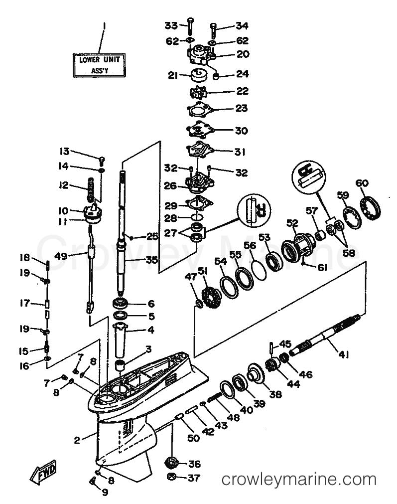 medium resolution of 1993 yamaha international 25hp 25qeo 61c 999 lower casing