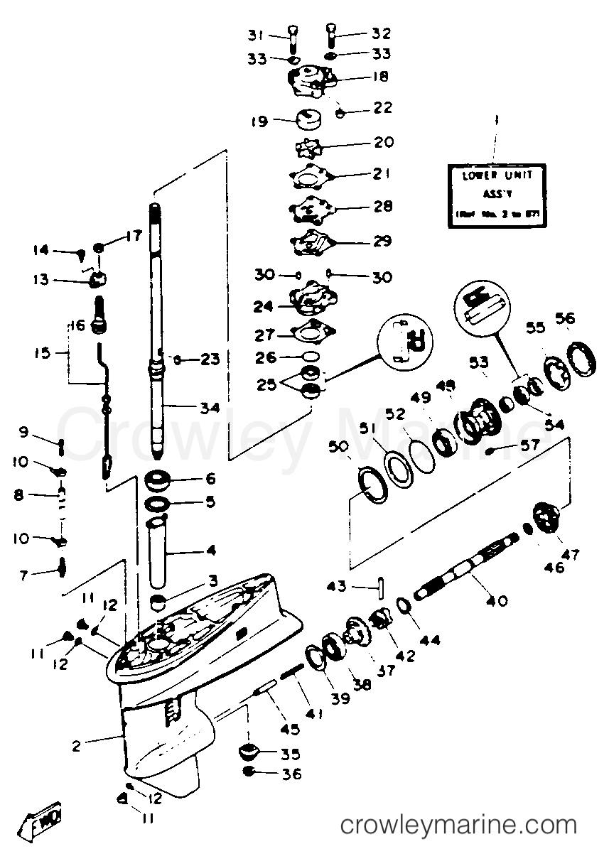 hight resolution of 1993 yamaha outboard 30hp 30elrr lower drive 1 section