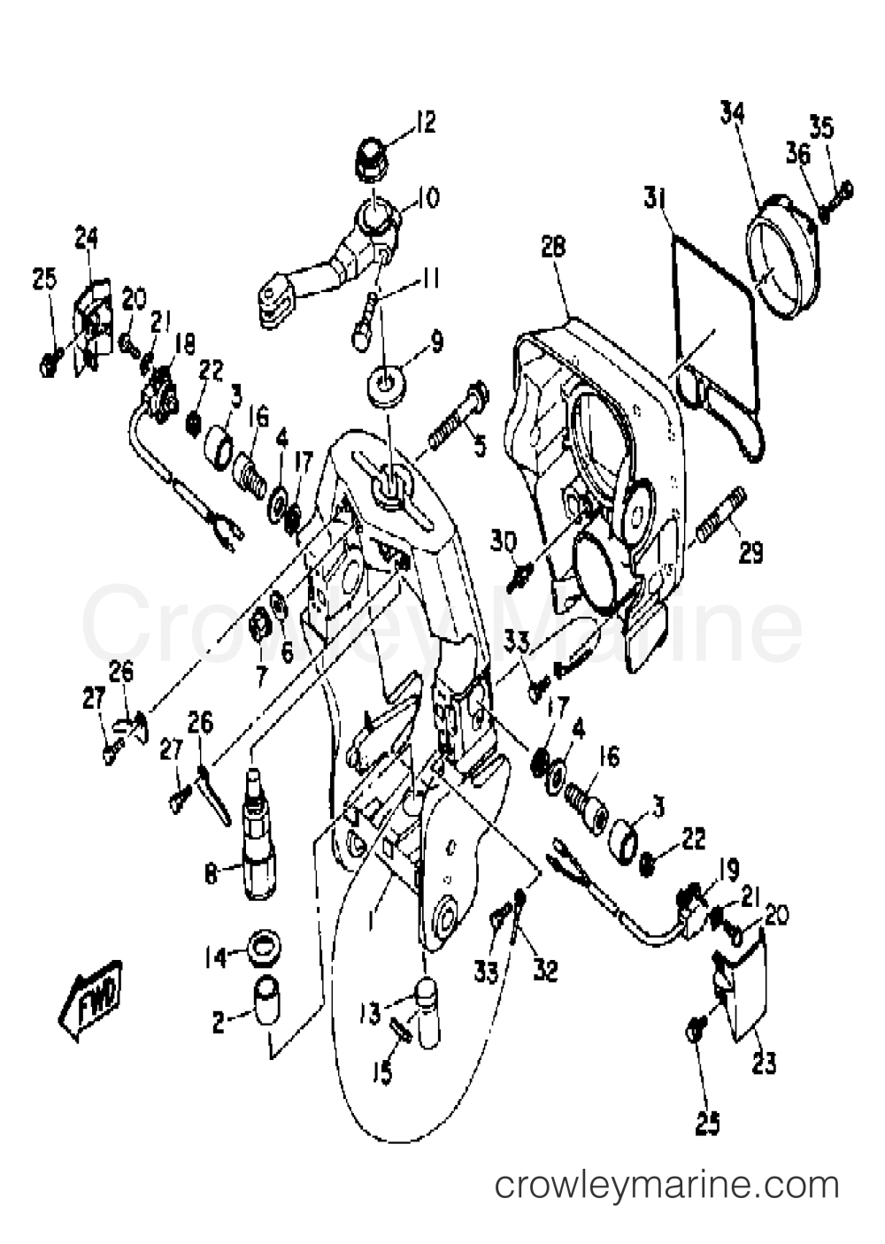 medium resolution of 1992 yamaha stern drive v8 drive unit v8 7 4 gimbal housing 2 section