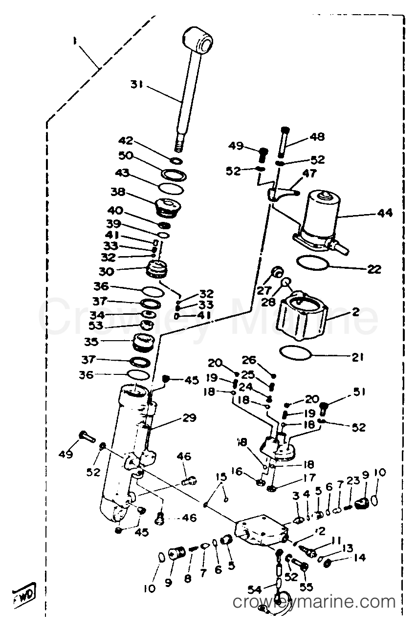 medium resolution of 1993 yamaha outboard 40hp 40plrr power trim tilt assy section