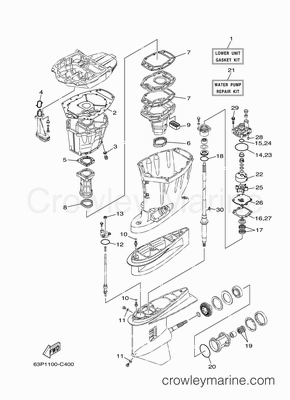 Yamaha 150 Outboard Lower Unit Parts Diagram Yamaha 150