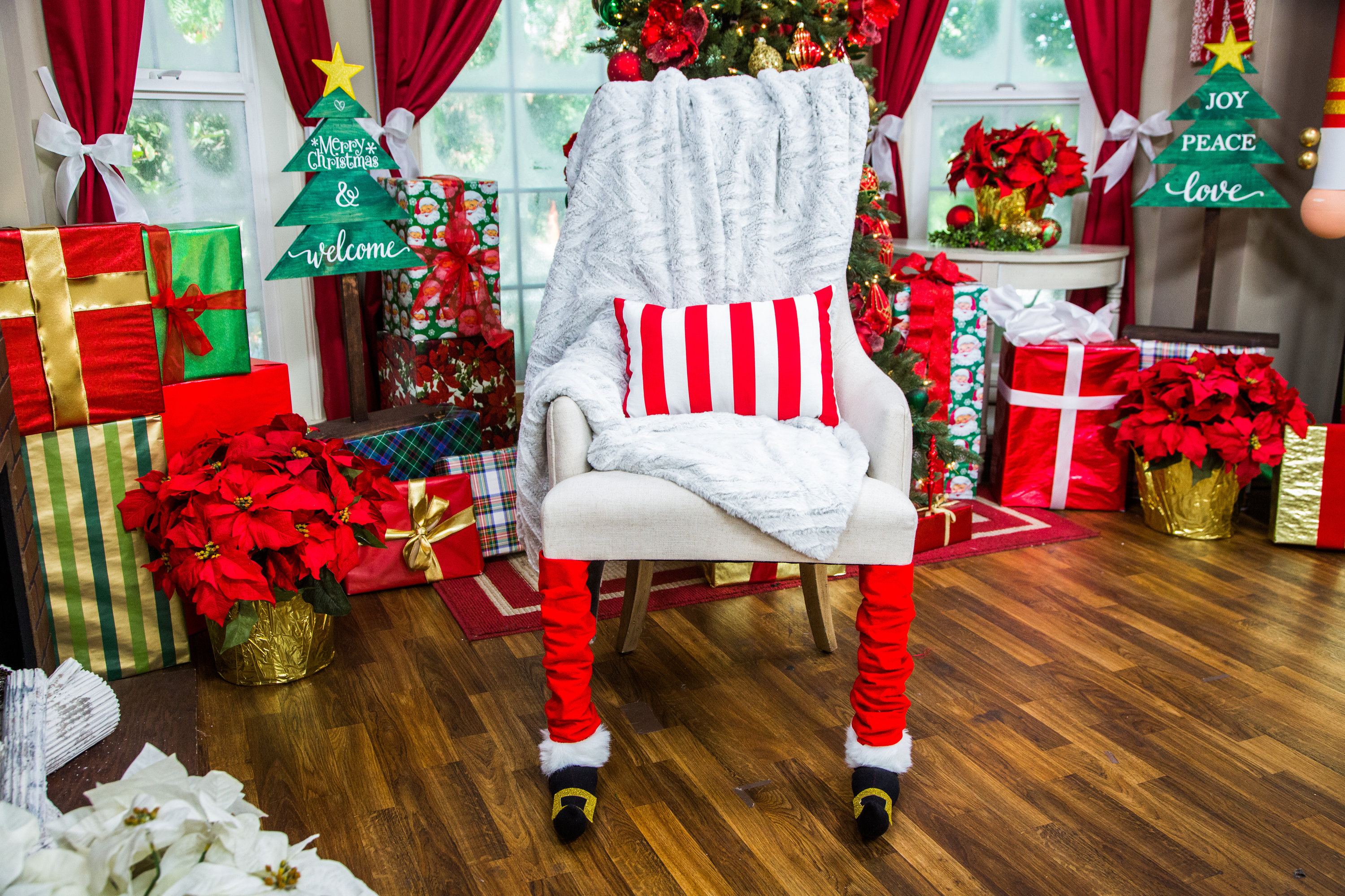 kirklands christmas chair covers rockwell accent teal diy leg