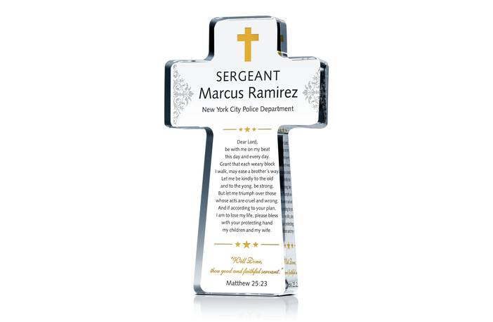 Police Officer Prayer Cross Plaque