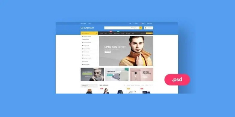 Supermart - Free E commerce Web Template PSD