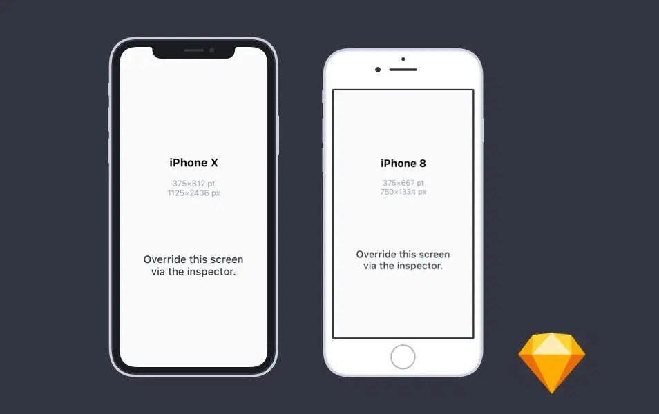 Flat iPhone X and iPhone 8 Mockups for Sketch