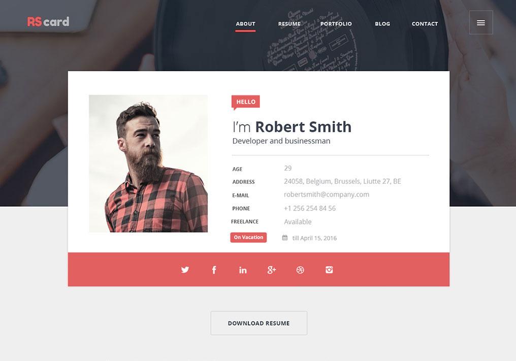 Material Design Resume CV Portfolio CSS Winner