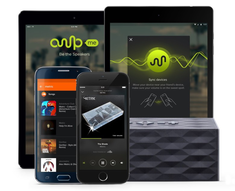 The app works with iOS and Android devices with music streaming from SoundCloud.