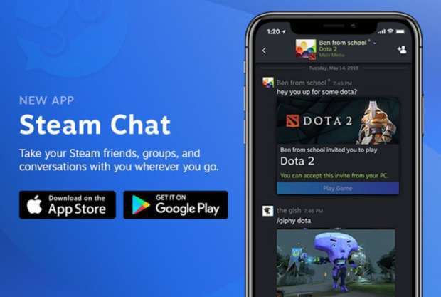 Steam Chat app for mobile