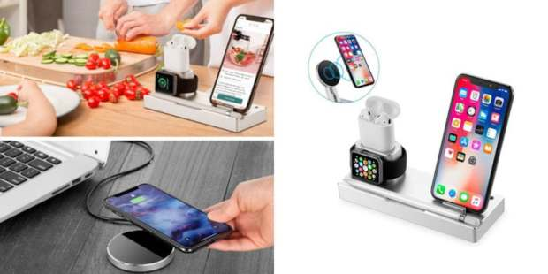 This single station wireless charges up to four devices at once, including smartphones, watches, even the Apple Pencil.