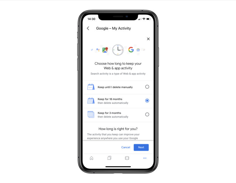 How to ask Google to auto-wipe your activity data on iOS