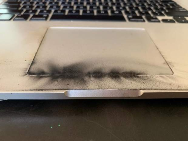charred touch pad on recalled MacBook Pro