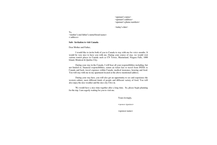 visitor visa canada invitation letter