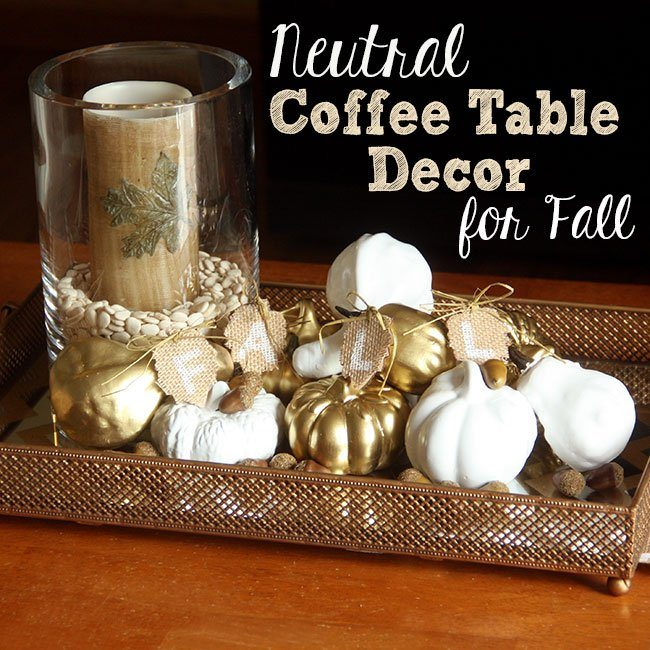neutral coffee table decor for fall