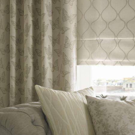 grey fabric sofa next small es coastal collection   ashley wilde curtains ...