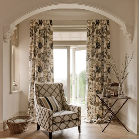 floral upholstered chair aluminum bar chairs margherita fabric collection | clarke and curtains & roman blinds