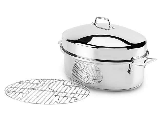 all clad 15x11 stainless steel covered oval roaster