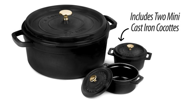 Staub Dutch Oven With Two Mini Cast Iron Cocottes 5