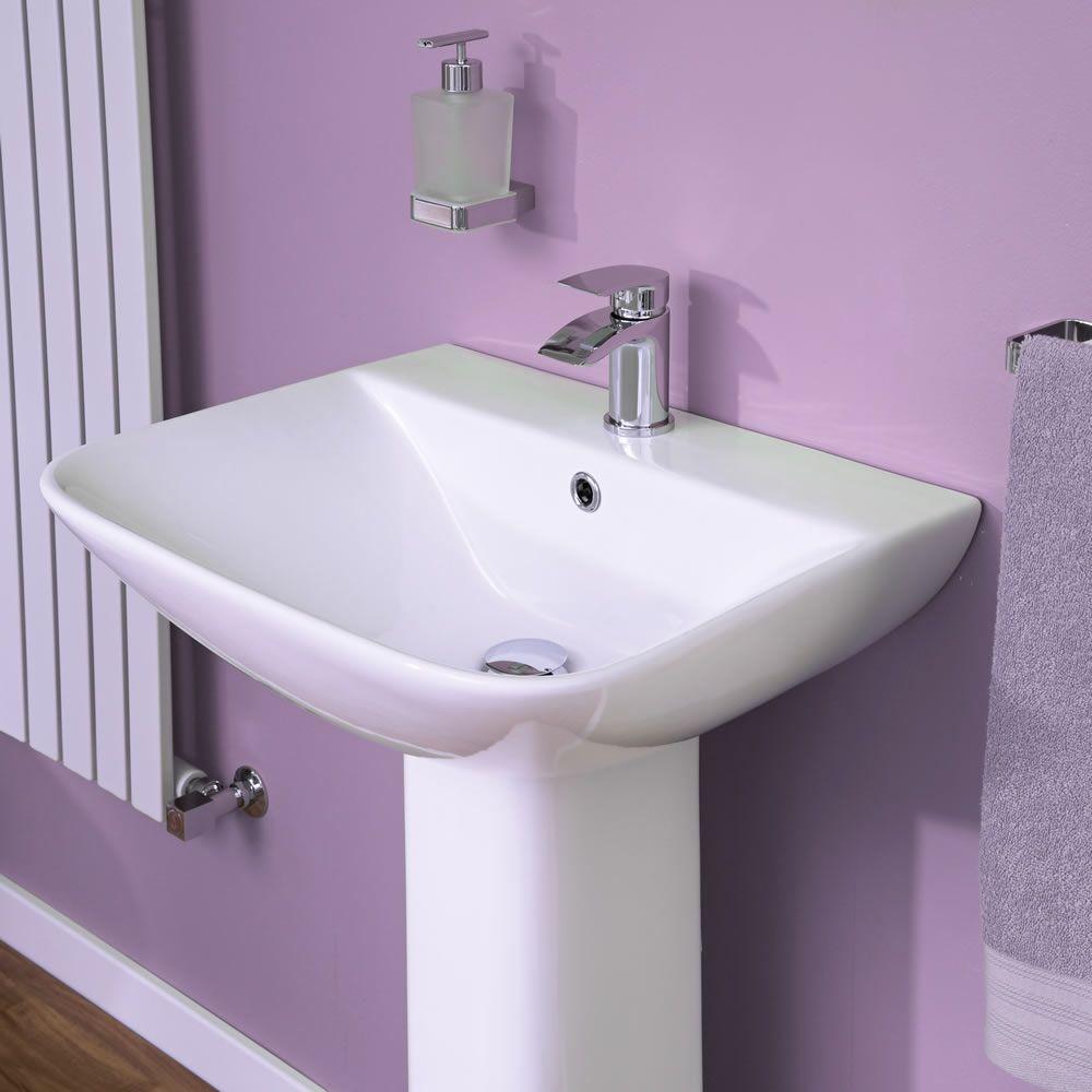 Modernes Waschbecken Mit Sockel Und 1loch Armaturen 550mm