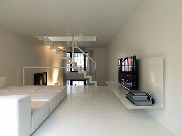 Minimalist Loft With A Strong Contrast Of Dark And White