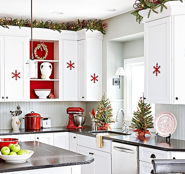 decoration kitchen island top christmas ideas curtains tablecloth windows view in gallery snowflake ornaments the