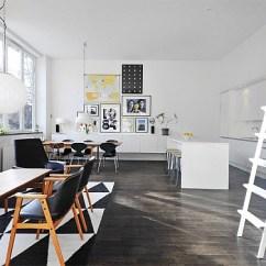 Renovated Kitchen Ideas Led Lighting Black & White Contemporary Loft In Stockholm, Sweden