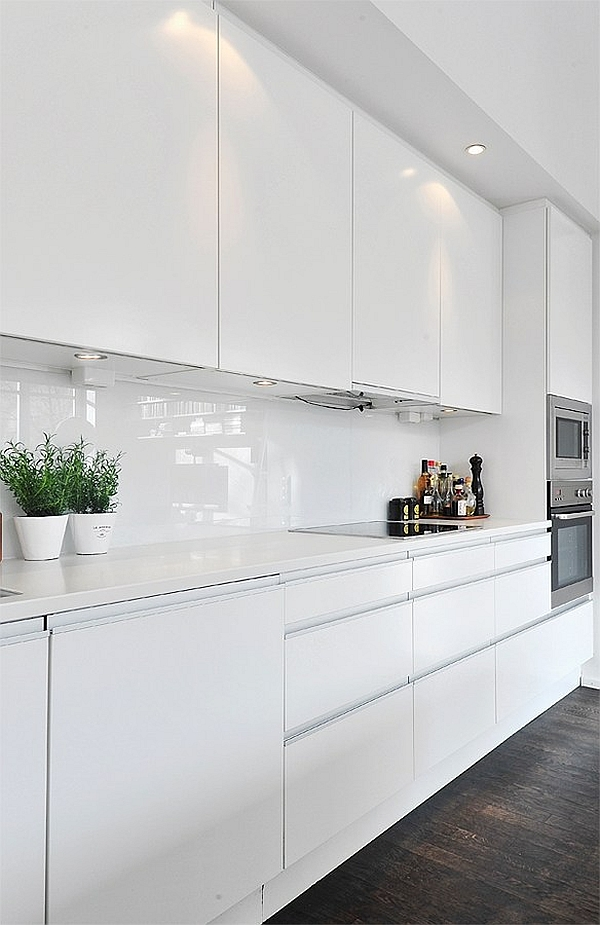 Black  White Contemporary Loft white kitchen cabinets  Decoist