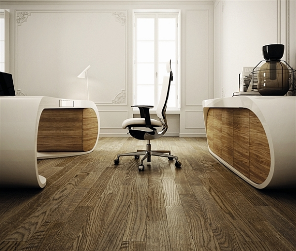 Ultramodern Goggle Office Desks  Rounded Shapes Design Ideas