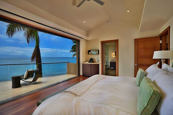 modern bedroom with ocean view From the masthead: Rooms with a view- Coastal bedrooms with ocean blue views