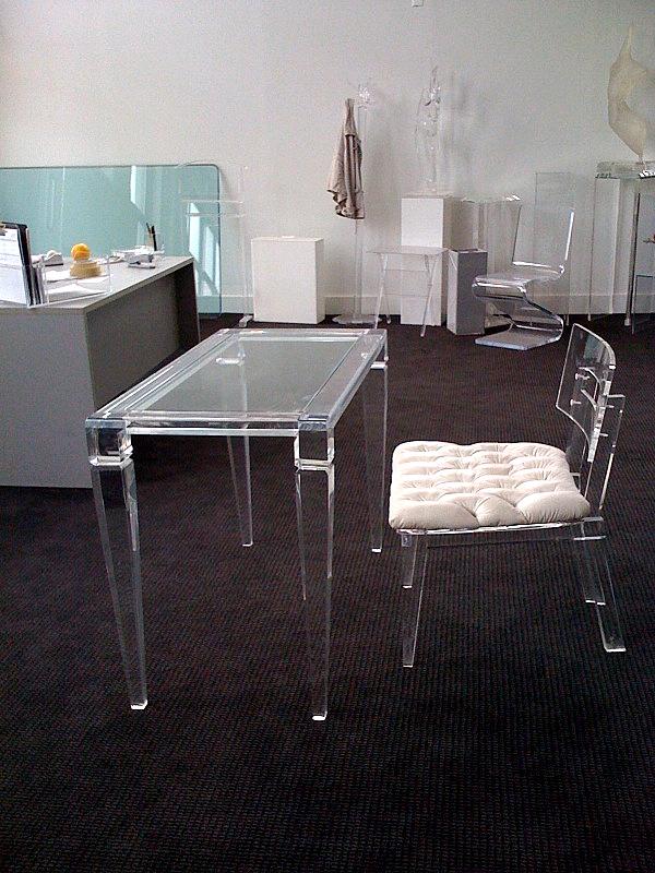 acrylic chair legs tubular steel design home office desks for a clearly fabulous work space