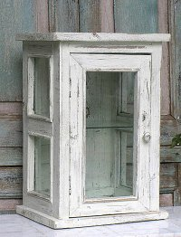 distressed wood and glass display cabinet - Decoist